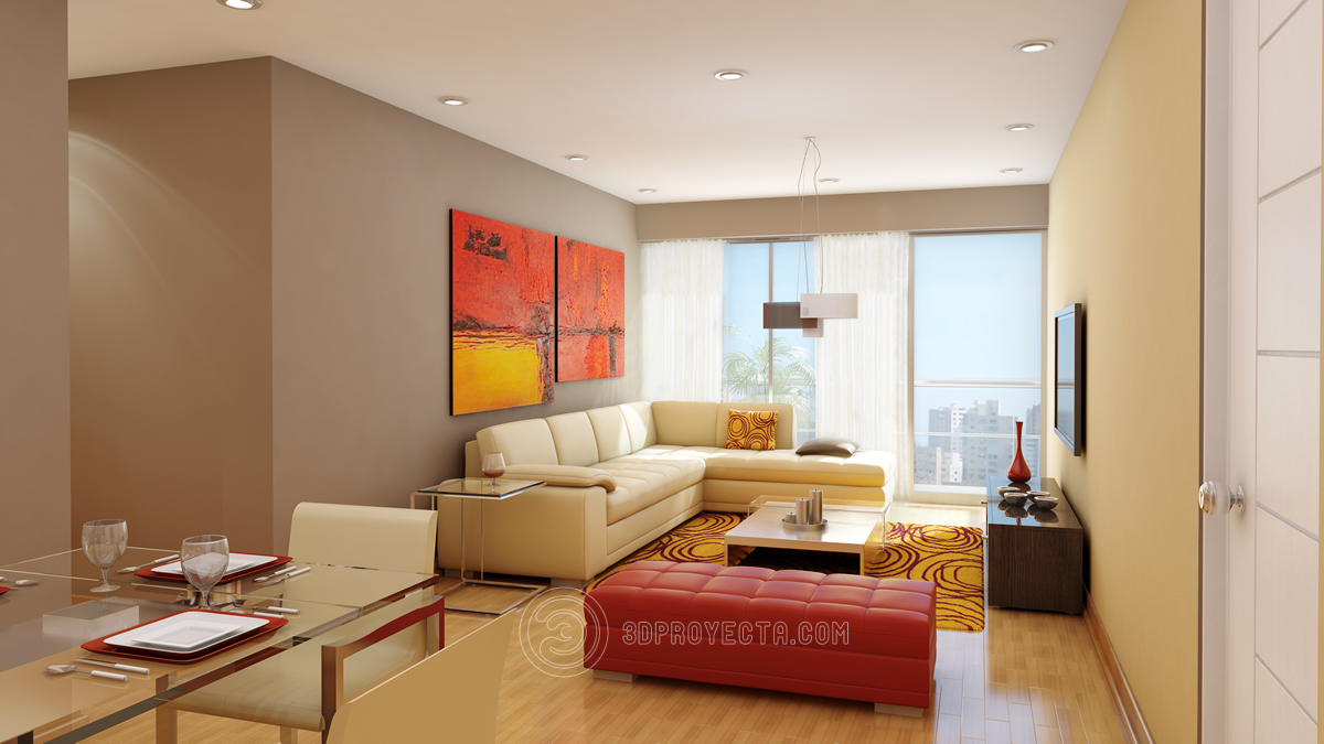 Vistas en 3d dise o de interiode sala comedor fotorealista for Diseno de interiores living comedor