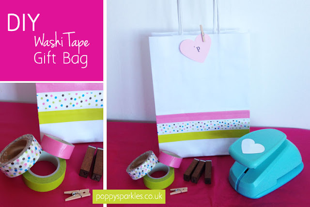 DIY Washi tape gift bag by Poppy Sparkles