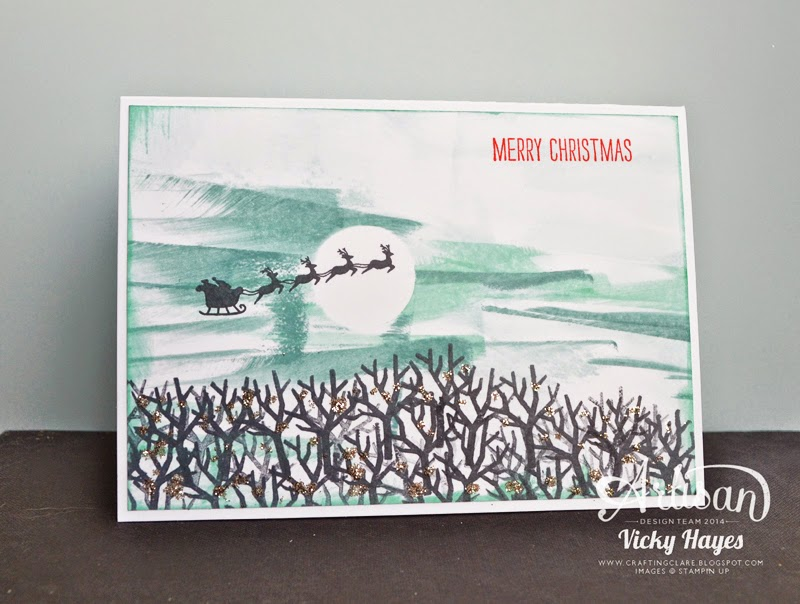 Stampin' Up's Holiday Home stamp set features Santa's flying sleigh!
