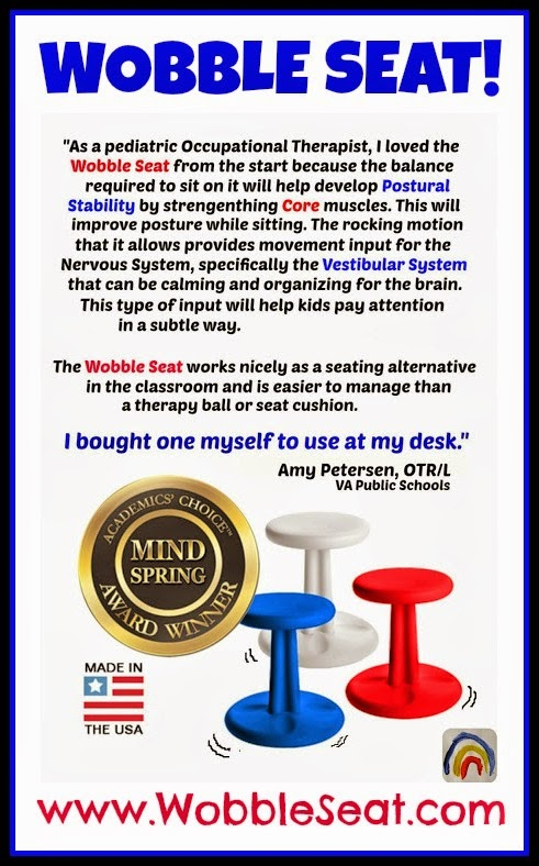 """Wobble Seat: """"Stools"""" that ROCK as you Sit! Great for Kinesthetic Kids! at RainbowsWithinReach"""