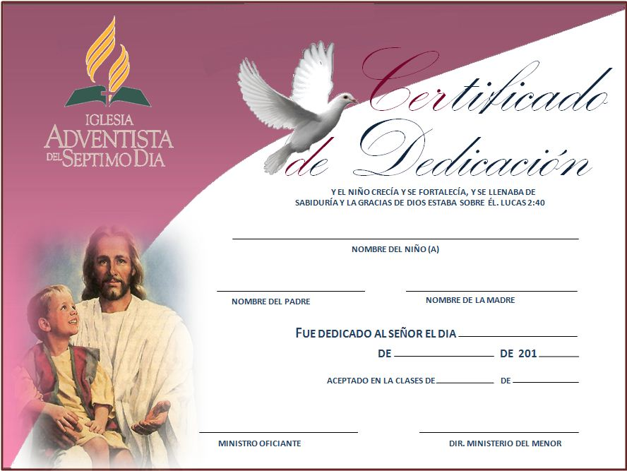 BLOG - DEZADVENTISTA: Certificado de dedicación de niños - IASD