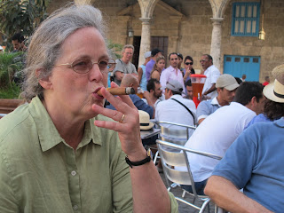 Nora enjoying a Cuban cigar