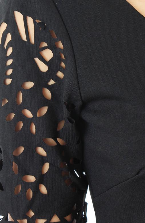 Infinite Lattice Pencil Dress – Classic Black