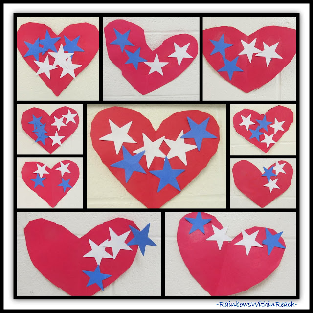 Patriotic Preschool Hearts with Stars via RainbowsWithinReach