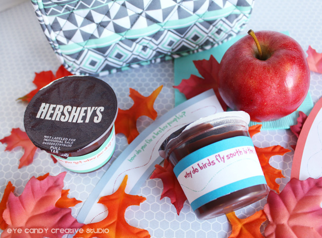what to pack in kids lunch, Hershey's pudding cups, fall joke wraps, free