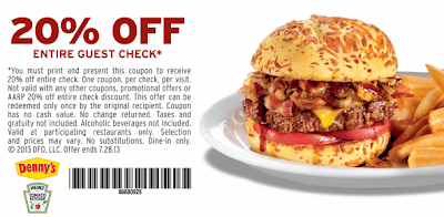 image relating to Dennys Printable Coupons titled Dennys - 20% Off Complete Get Printable Coupon - Sy Dealz