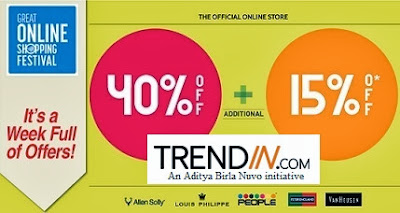 Great Online Shopping Festival by Google: Great Discount (Flat 40% + Extra 15%) on Big Brand (LP | Peter England | Allen Solly | Van Heusen & more)  at Trendin