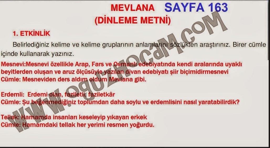 5sınıf Türkçe çalışma Kitabı Sayfa 163 Cevabı Ada Yayınları
