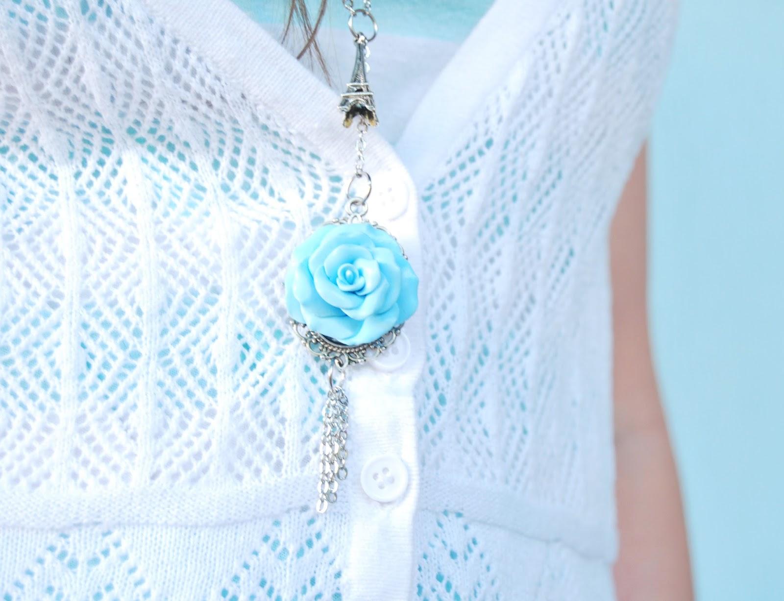 Collar arcilla polimerica rosa azul