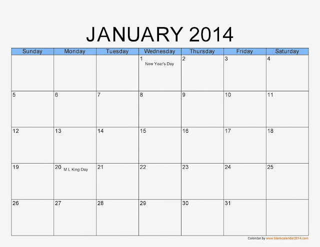 January 2014 calendar printable 1 printable calendar for Fillable calendar template 2014