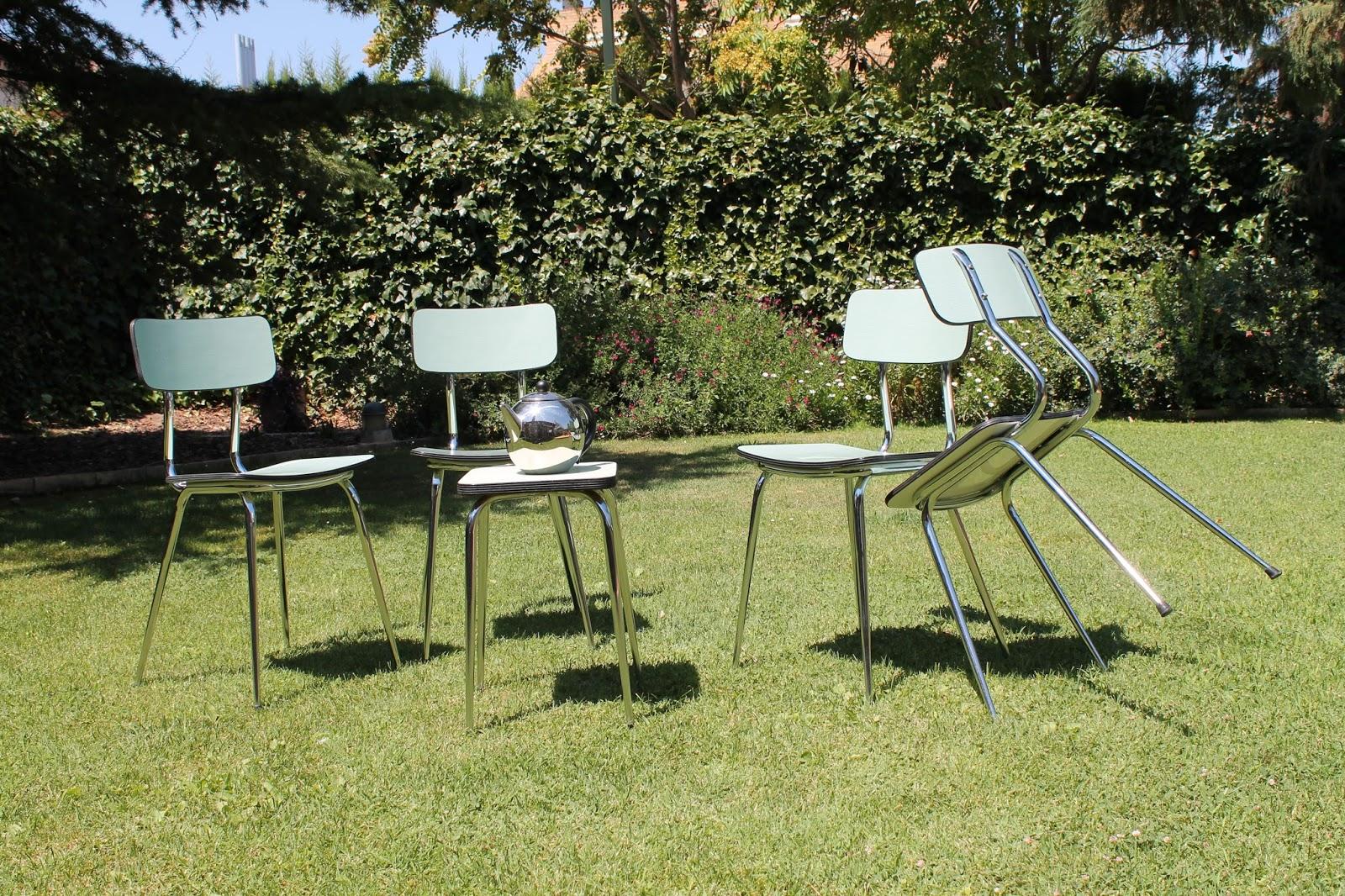 Vintager a conjunto sillas formica color verde pata c nica a os 50 60 - Sillas formica ...