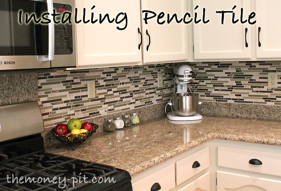 how to tile a kitchen backsplash using pencil tile a great tutorial on how to
