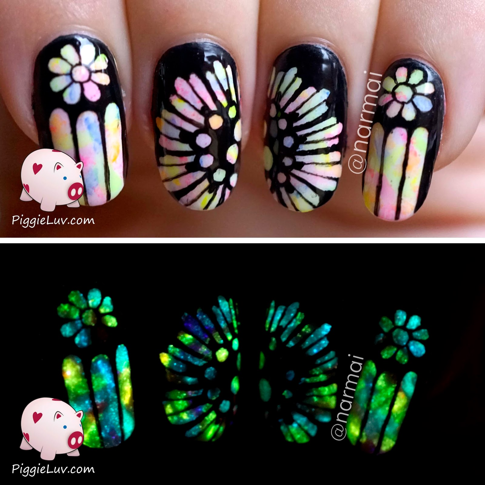Piggieluv glow in the dark rose window nail art ive been wanting to do a glow in the dark church window design for a while now but ugh too many ideas not enough nails here they are now though prinsesfo Images
