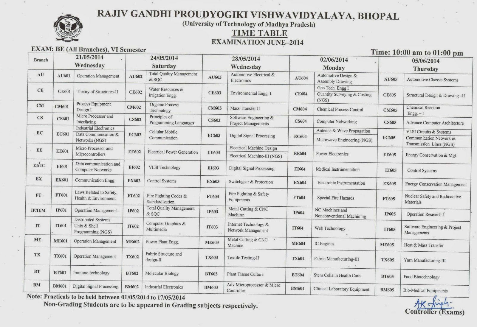 rgpv time table be btech bpharma time table rgpv st nd rd  click to>> <<<< rgpv 7th sem time table 2014>>>>