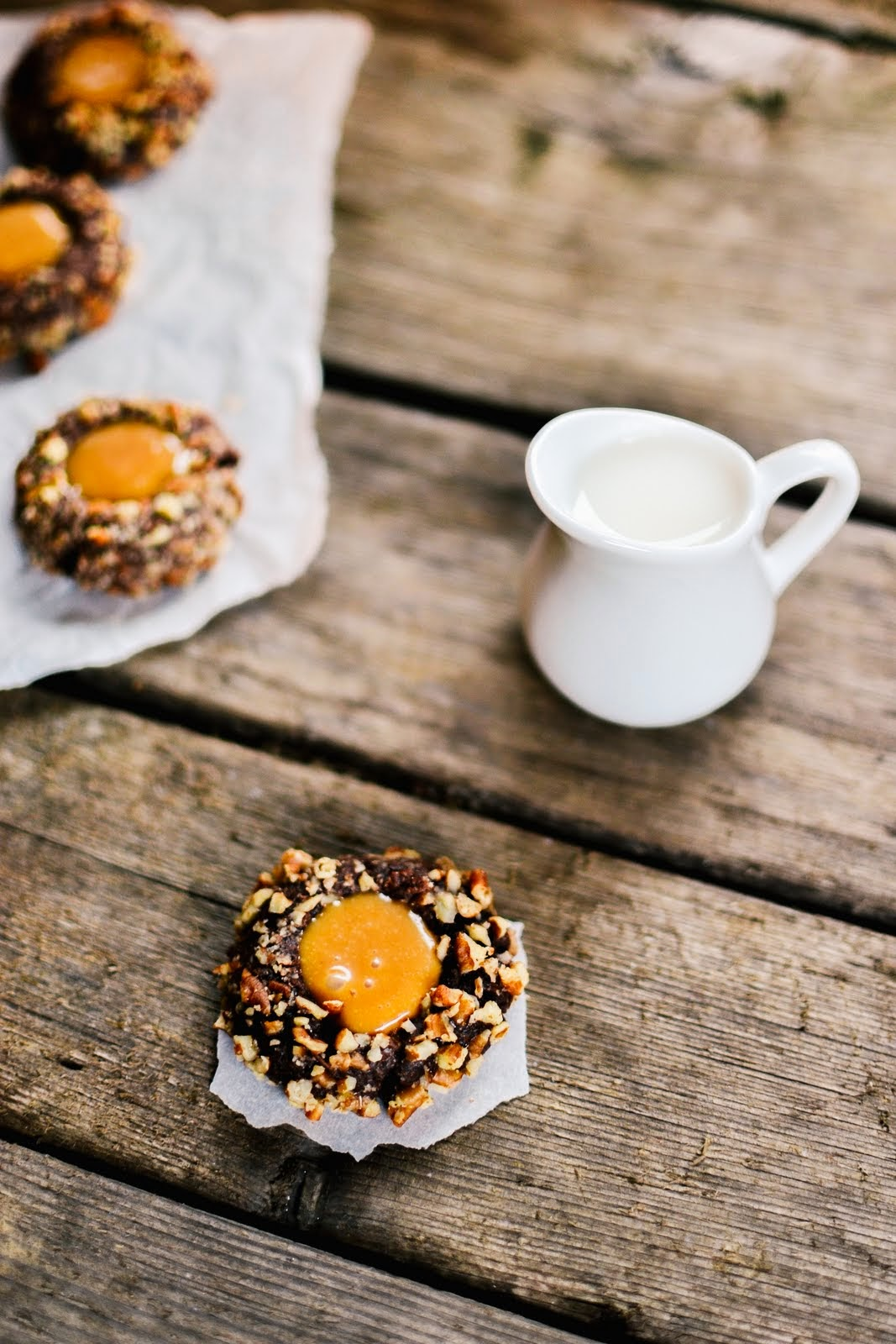 chocolate pecan caramel thumbprint cookies