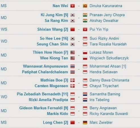 Jadwal Pertandingan BWF World Championships 2014 Hari Ketiga