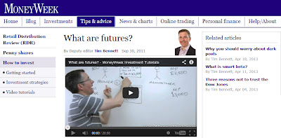 Screenshot image of MoneyWekk's website where an important video explaining futures is hosted
