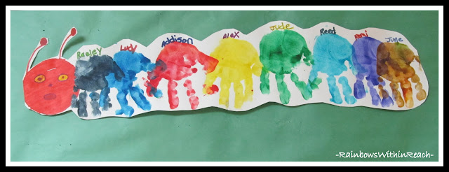 photo of: Classic Classroom Caterpillar made out of painted hand prints (via RainbowsWithinReach) 