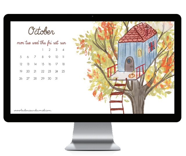 october 2015 illustrated desktop wallpaper with calendar, tree house