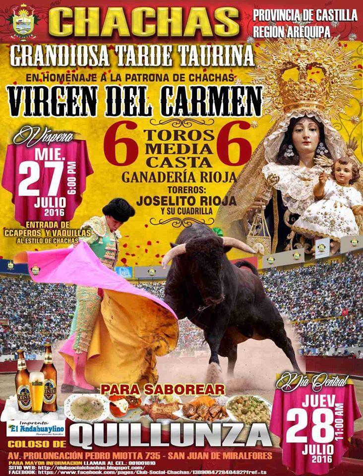 CORRIDA DE TOROS  EL 28 DE JULIO DEL 2016