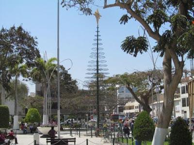 Inician decorado navideño de árboles del parque principal de la ciudad de Chiclayo