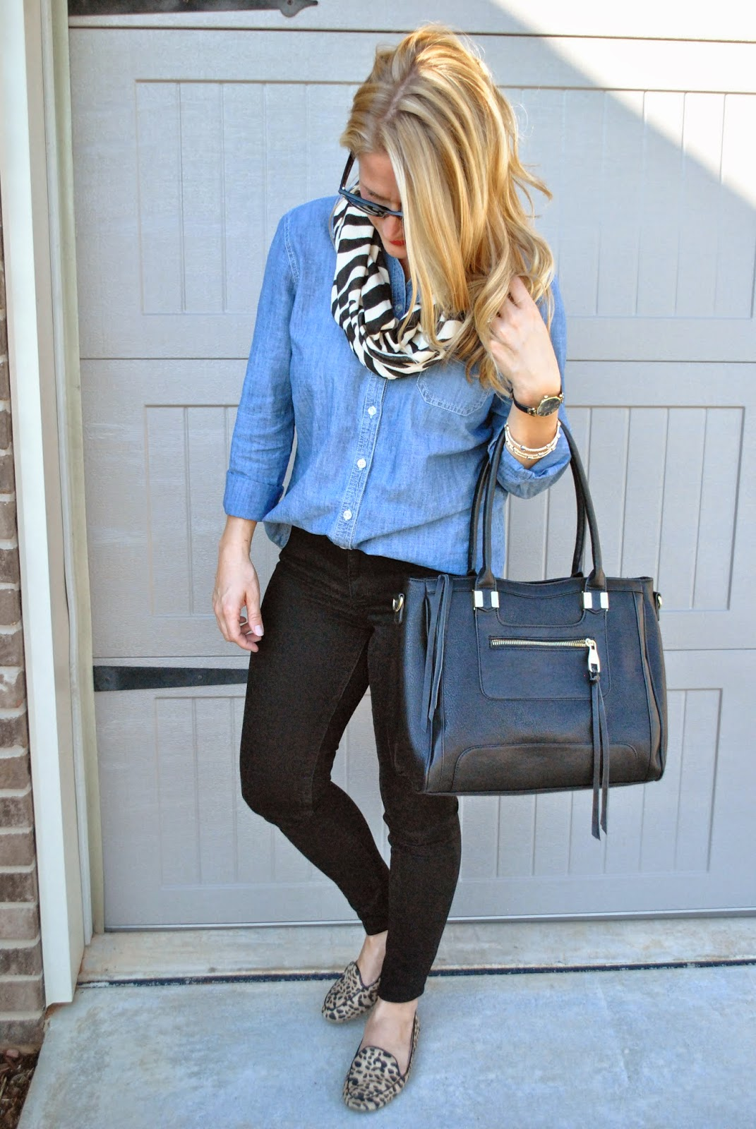 Old Navy Chambray Shirt Old Navy Zebra Scarf Black Skinnies Steve Madden Oversize Tote Leopard Flats