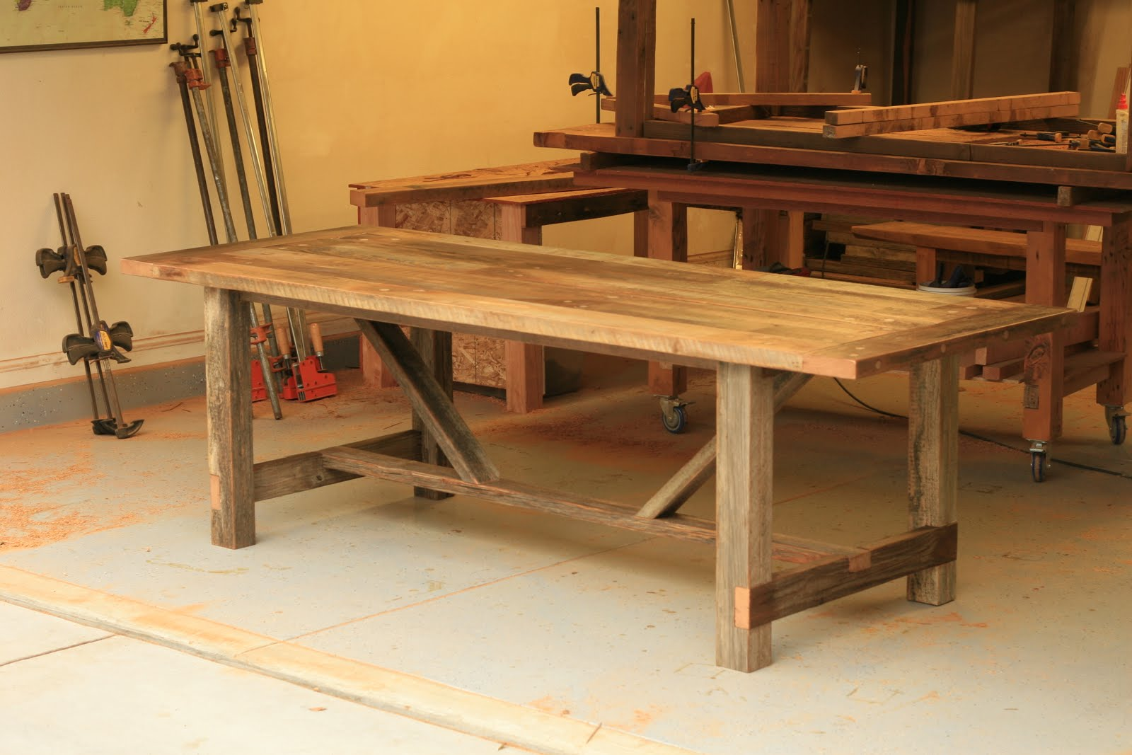 Arbor Exchange Reclaimed Wood Furniture Weathered Outdoor Table Breadboards Ends