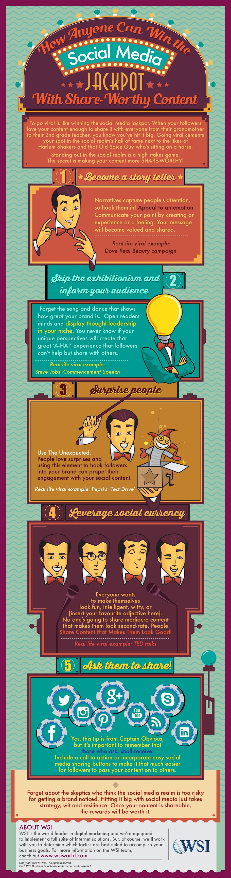 How Anyone Can Win The Social Media Jackpot With Share-Worthy Content - infographic #socialmedia marketing for businesses