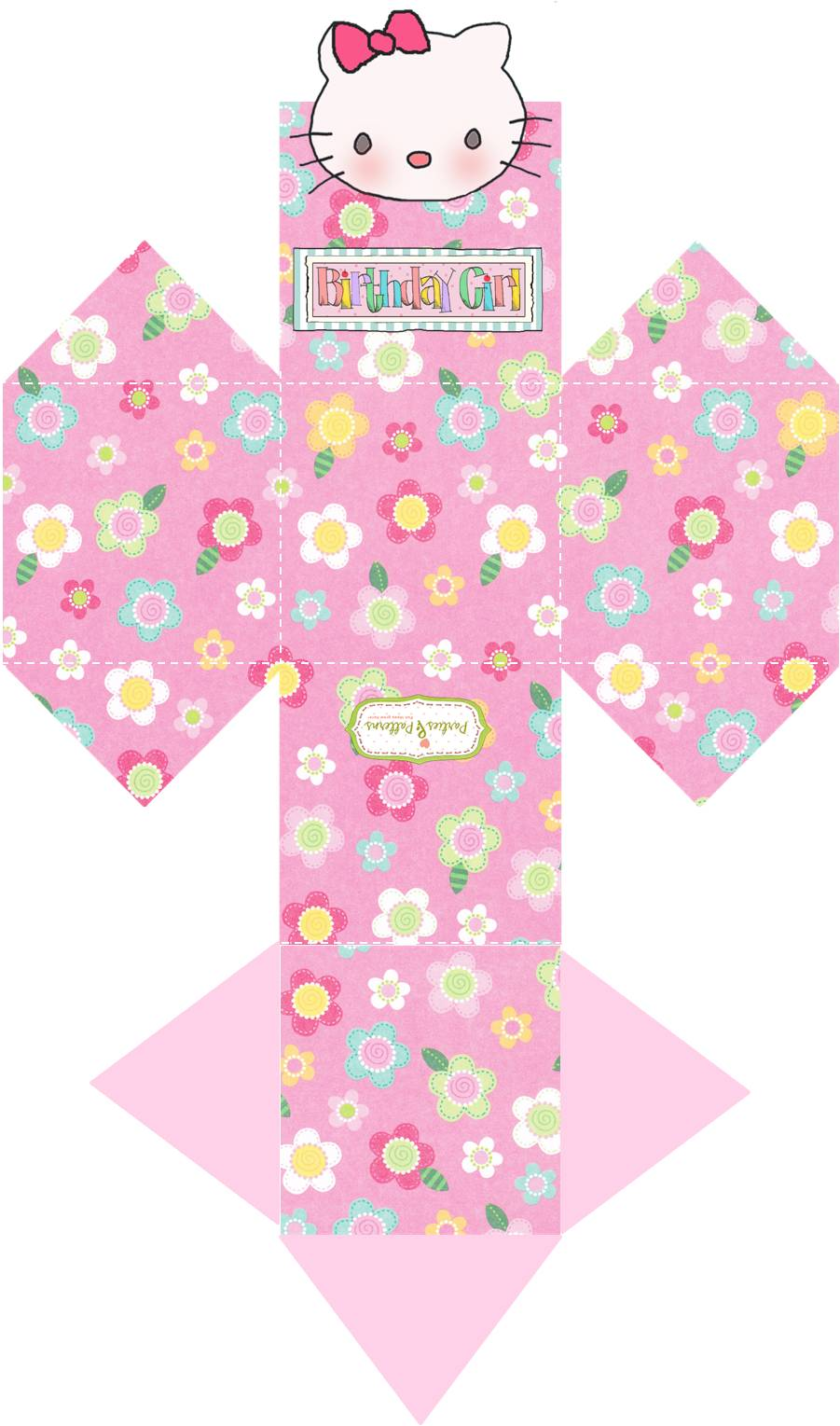 """Parties and Patterns: Homemade Party Favor Candy Box """"Hello Kitty"""""""