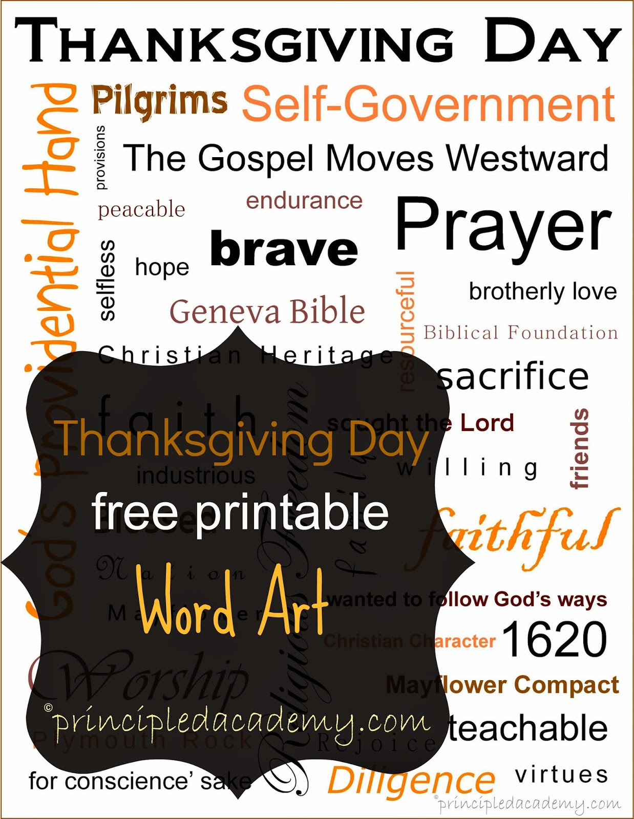 Thanksgiving Day Printable {Word Art}- Our Christian Heritage ...
