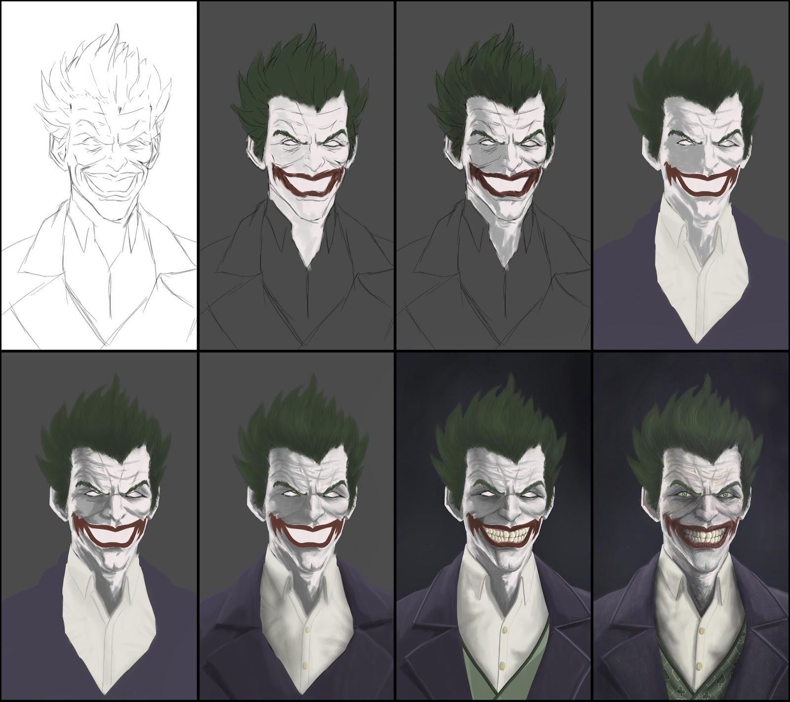Aditya parab cg work the joker batman arkham origins the joker digital painting breakdowns voltagebd Images