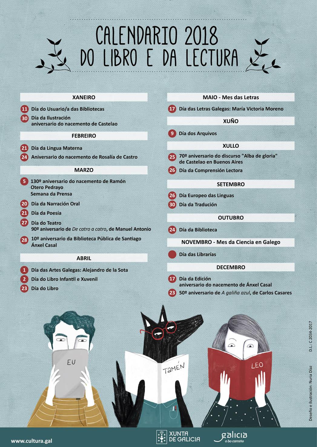 Calendario 2018  do libro e da lectura