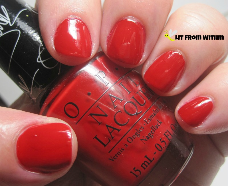 my new fave tomato-red, OPI Over And Over A-Gwen