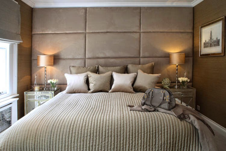 Above Image: Sophie Paterson Interiors Deeply Padded Upholstered Wall  Headboard In Soft Muted Shades Of Taupe Gallery