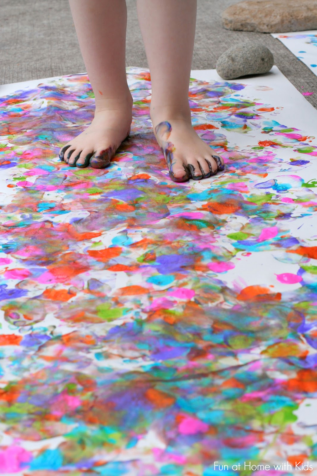 Big art painting with your feet Fun painting ideas for toddlers