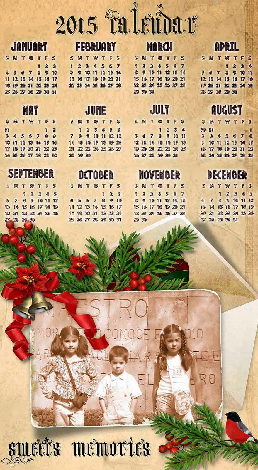Postal sobre pergamino con calendario en inglés