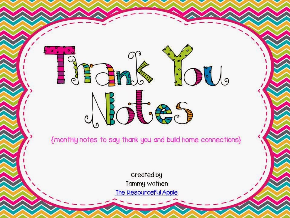 https://www.teacherspayteachers.com/Product/Thank-You-Notes-monthly-notes-to-say-thank-you-and-build-connections-809633
