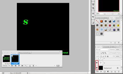 kalo udah, buat frame baru lagi, frame ke-3 dan aktifkan layer huruf ...