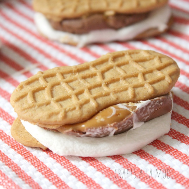 Making s'mores with Nutter Butter Cookies instead of graham crackers