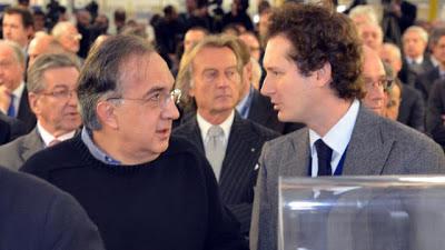 Sergio Marchionne e John Elkann all'inaugurazione della Maserati di Grugliasco