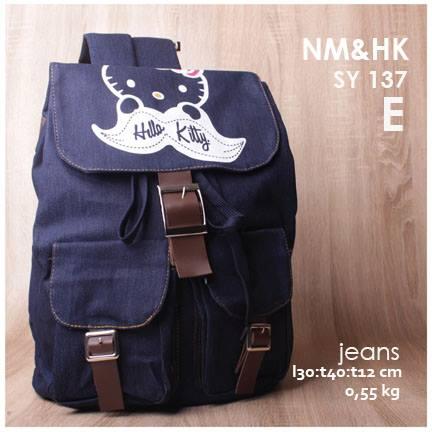 jual online tas ransel jeans gambar hello kitty harga murah warna navy
