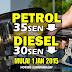 Harga petrol turun 35 sen, diesel turun 30 sen mulai 1 Januari 2015