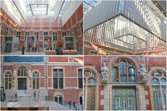 Entrada del Museo Rijksmuseum en Amsterdam – Detalles del hall de entrada, escaleras, techo y fachada