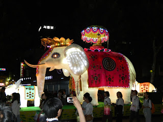 Beautiful white elephant lantern from the lantern festival in Seoul