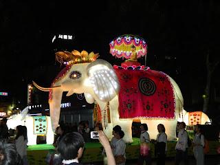 Beautiful white elephant lantern from the lantern festival in Seoul