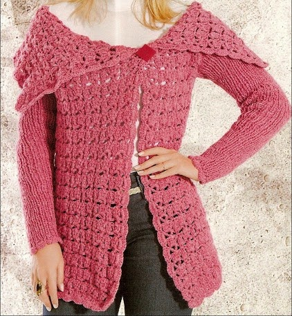 croche com receita casaco rosê rosa trico aprender croche edinir-croche dvd loja curso de croche