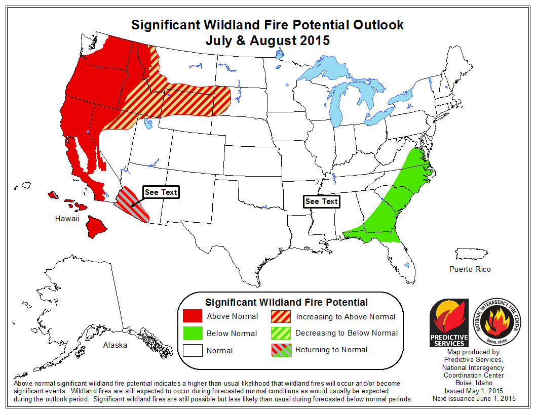 Idaho Fire Information The First Fire Weather Forecast Issued By - Us wildland fire potential map