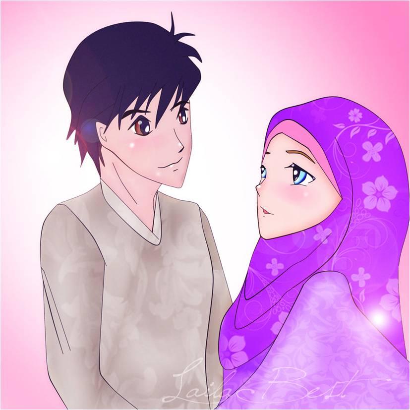 Short Story Where Is Khadija Chapter Habibi Halaqas Jpg 827x827 Hijab Couple Anime Gambar Animasi Picturesque