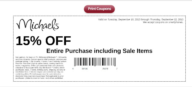 Coupon: Michaels Craft Store 15% off your entire purchase even sale
