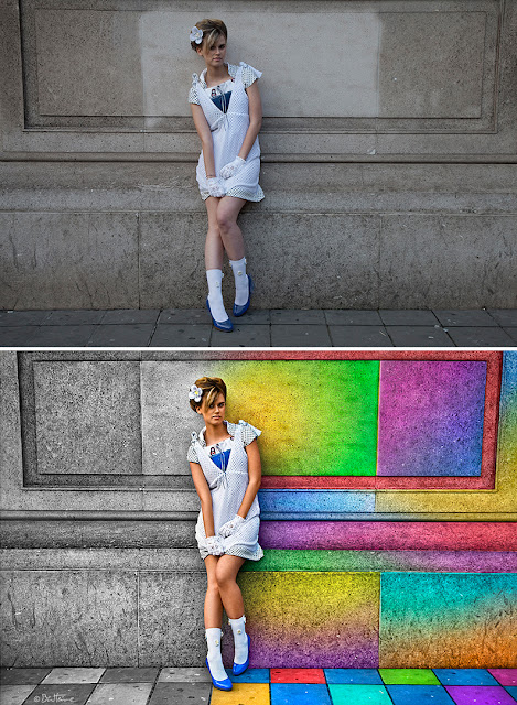 Before-After - In a Rainbow City - Artwork by Ben Heine